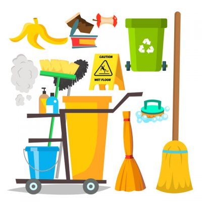 Cleaning Items Vector. Household Supplies Icons. Equipment. Isolated Cartoon Illustration